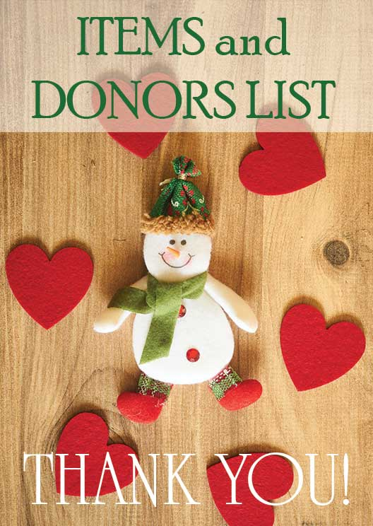 Holiday Online Auction Items and Donors List